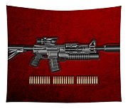 Colt  M 4 A 1  S O P M O D Carbine With 5.56 N A T O Rounds On Red Velvet  Tapestry