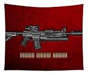 Colt  M 4 A 1  S O P M O D Carbine With 5.56 N A T O Rounds On Red Velvet  Tapestry