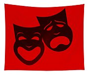 Comedy N Tragedy Red Tapestry