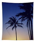 Couple And Sunset Palms Tapestry