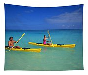 Couple Paddling Tapestry