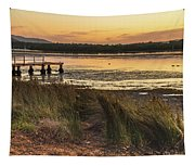 Dawn Waterscape And Wharf Tapestry