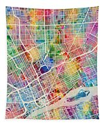 Detroit Michigan City Map Tapestry
