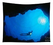Diver At Cavern Entrance Tapestry