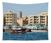 Dubai Creek And Abra Boats Tapestry