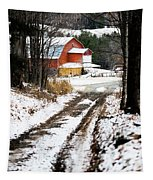 Early Winter Barn Tapestry