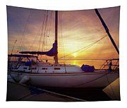 Evening Harbor At Rest Tapestry