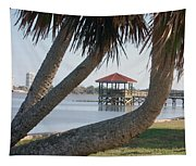Gazebo Dock Framed By Leaning Palms Tapestry