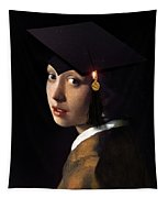 Girl With The Grad Cap Tapestry
