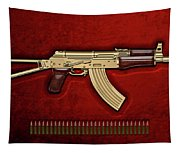 Gold A K S-74 U Assault Rifle With 5.45x39 Rounds Over Red Velvet   Tapestry