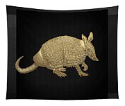 Gold Armadillo On Black Canvas Tapestry