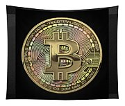 Gold Bitcoin Effigy Over Black Canvas Tapestry