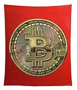 Gold Bitcoin Effigy Over Red Canvas Tapestry