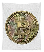Gold Bitcoin Effigy Over White Leather Tapestry