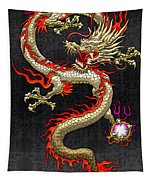 Golden Chinese Dragon Fucanglong  Tapestry