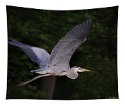 Great Blue Heron In Flight Tapestry