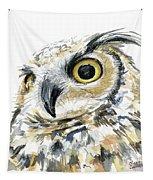 Great Horned Owl Watercolor Tapestry by Olga Shvartsur