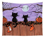 Halloween Cats Fence Tapestry