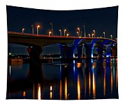 Hathaway Bridge At Night Tapestry