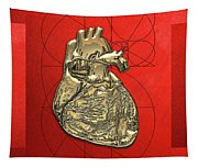 Heart Of Gold - Golden Human Heart On Red Canvas Tapestry