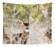 Herd Of Mule Deer In Deep Snow Tapestry