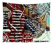 Escaliers De Montreal Ville De Verdun Best Original Montreal Paintings On Sale Peintures  Tapestry