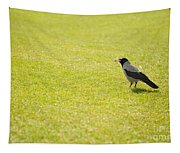 Hooded Crow Bird Gathering Hay Tapestry