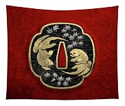 Japanese Katana Tsuba - Twin Gold Fish On Black Steel Over Red Velvet Tapestry