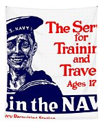 Join The Navy - The Service For Training And Travel Tapestry by War Is Hell Store