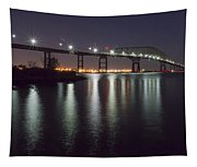 Key Bridge At Night Tapestry
