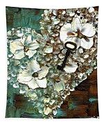 Heart Key Modern Valentines Day Art Tapestry