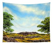 Lava Rock And Flowers Tapestry