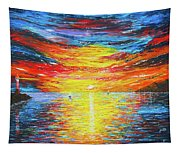 Lighthouse Sunset Ocean View Palette Knife Original Painting Tapestry