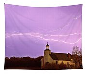 Lightning Bolts Over Spring Valley Country Church Tapestry