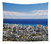 Lookout View Of Honolulu Tapestry