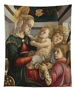 Madonna And Child With Angels Tapestry