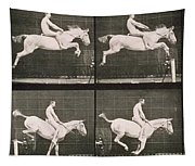 Man And Horse Jumping A Fence Tapestry
