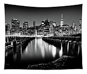 Manhattan Skyline At Night Tapestry