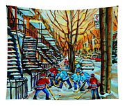Montreal Hockey Paintings Tapestry