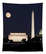 Moon Rising In Washington Dc Tapestry