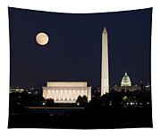 Moon Rising In Washington Dc Tapestry
