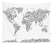Music Notes Map Of The World Tapestry