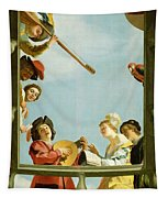 Musical Group On A Balcony Tapestry