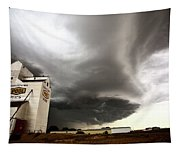 Nasty Looking Cumulonimbus Cloud Behind Grain Elevator Tapestry
