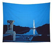 Night View Of The Washington Monument Across The National Mall Tapestry