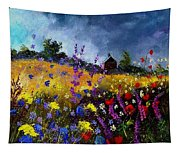 Old Chapel And Flowers Tapestry