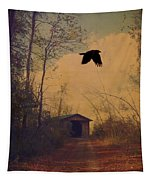Lone Crow Flies Over The Old Country Road  Tapestry
