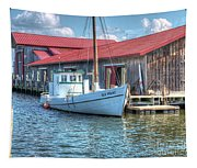 Old Point Crabbing Boat Tapestry