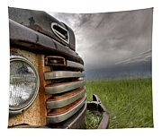 Old Vintage Truck On The Prairie Tapestry