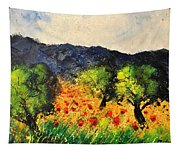 Olive Trees And Poppies  Tapestry